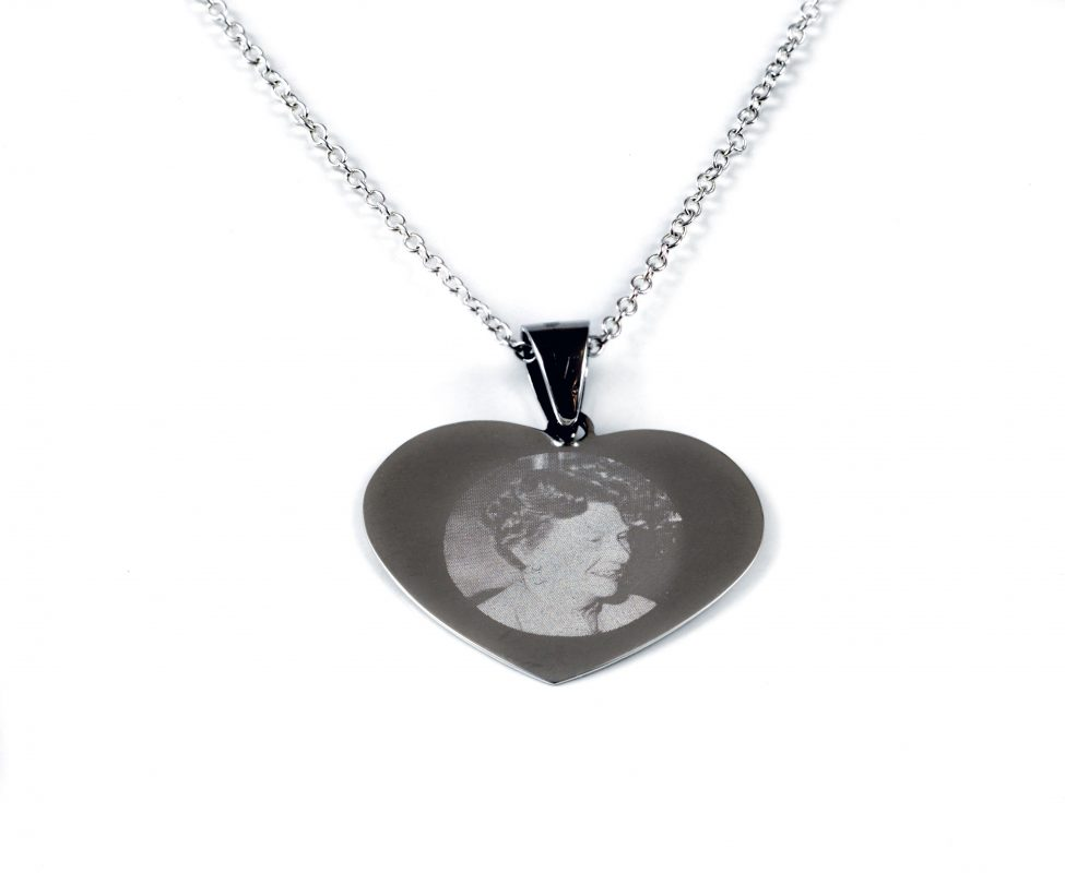Silver Necklace with heart shaped pendant including Photo ...