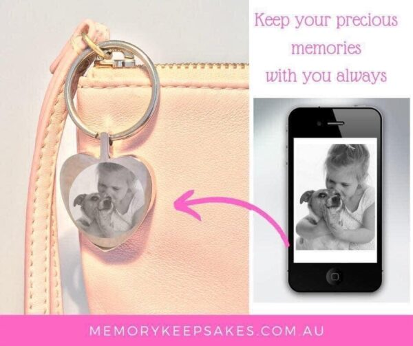Heart Keyring including photo engraving