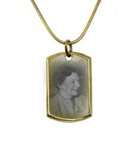 Gold dog tag including photo engraving